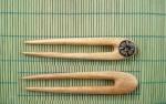 Ac de par faurit manual din lemn de fag, cu intarsie de os, L - 12cm, l - 2.5 cm, G - 8 mm